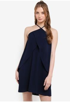 Love Halter Neck With Ruffle Dress