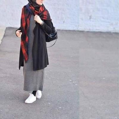Long Skinny Dress and Cardigan with White Sneakers