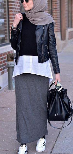 Skinny Skirt and Leather Jacket with White Sneakers