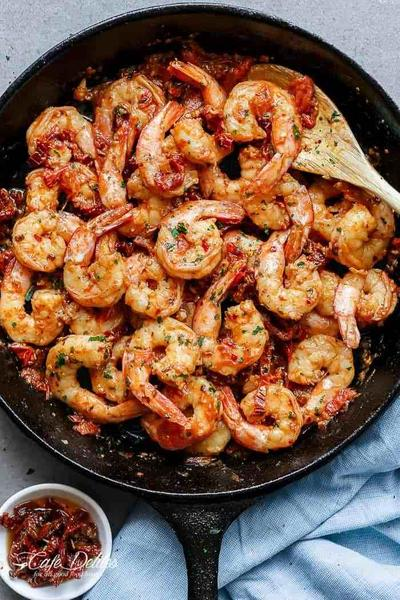 Spicy Garlic Sun Dried Tomato Shrimp