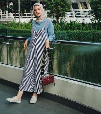 Blouse + Striped Overall Pants