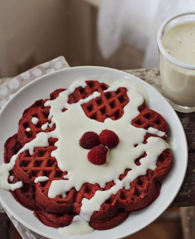 Red Velvet Waffle with Cream Cheese Syrup
